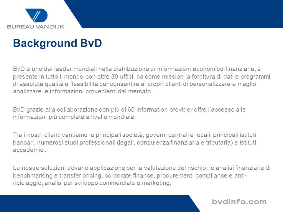 BvD è uno dei leader mondiali nella distribuzione di informazioni economico-finanziarie; è presente in tutto il mondo con oltre 30 uffici, ha come mis