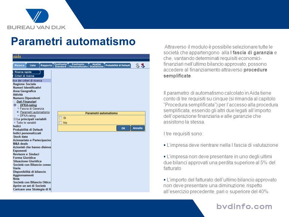 Parametri automatismo Attraverso il modulo è possibile selezionare tutte le società che appartengono alla I fascia di garanzia e che, vantando determi