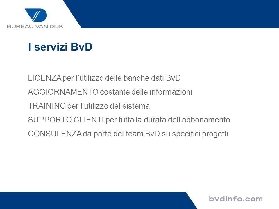 I servizi BvD LICENZA per lutilizzo delle banche dati BvD AGGIORNAMENTO costante delle informazioni TRAINING per lutilizzo del sistema SUPPORTO CLIENT