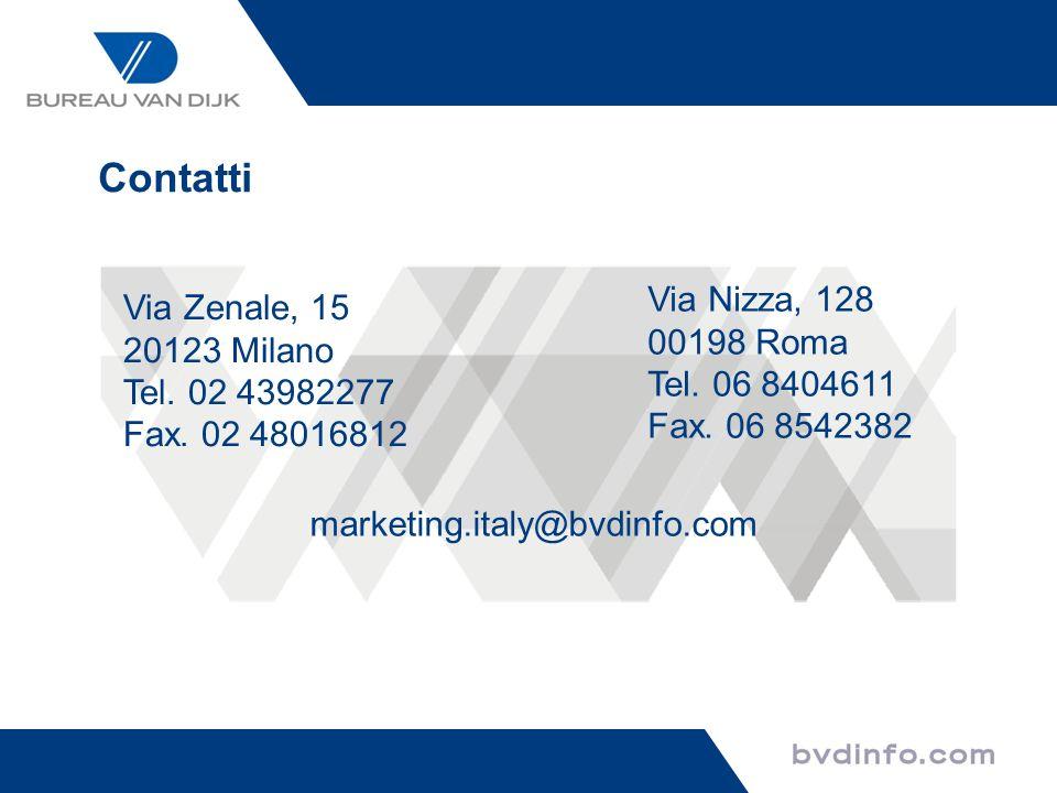 Contatti Via Zenale, 15 20123 Milano Tel. 02 43982277 Fax. 02 48016812 Via Nizza, 128 00198 Roma Tel. 06 8404611 Fax. 06 8542382 marketing.italy@bvdin