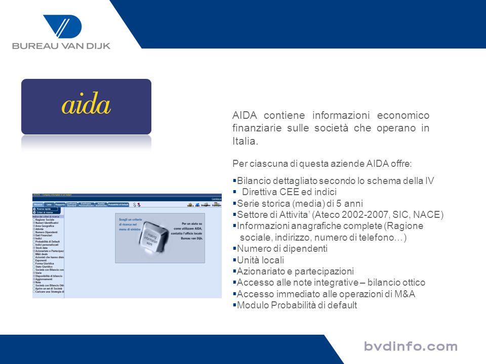 Per ciascuna di questa aziende AIDA offre: Bilancio dettagliato secondo lo schema della IV Direttiva CEE ed indici Serie storica (media) di 5 anni Set