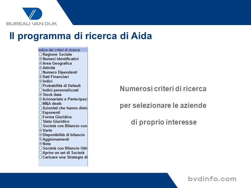 Numerosi criteri di ricerca per selezionare le aziende di proprio interesse Il programma di ricerca di Aida