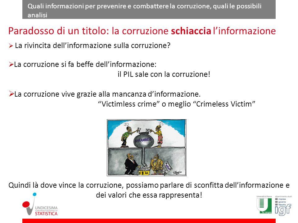 Quali informazioni per prevenire e combattere la corruzione, quali le possibili analisi La rivincita dellinformazione sulla corruzione.