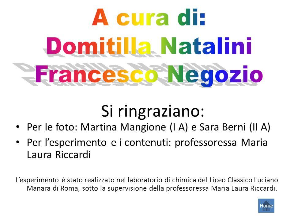 Si ringraziano: Per le foto: Martina Mangione (I A) e Sara Berni (II A) Per lesperimento e i contenuti: professoressa Maria Laura Riccardi Lesperiment