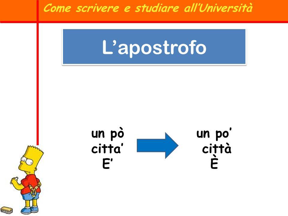 un pò citta E un po città È Come scrivere e studiare allUniversità Lapostrofo