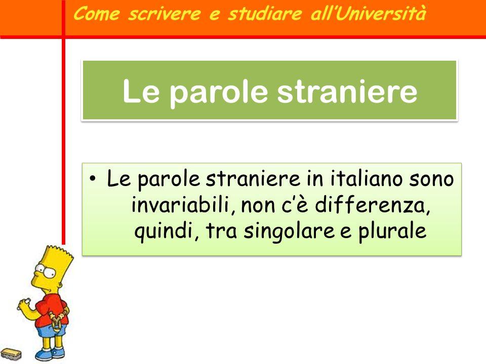 Le parole straniere in italiano sono invariabili, non cè differenza, quindi, tra singolare e plurale Come scrivere e studiare allUniversità Le parole