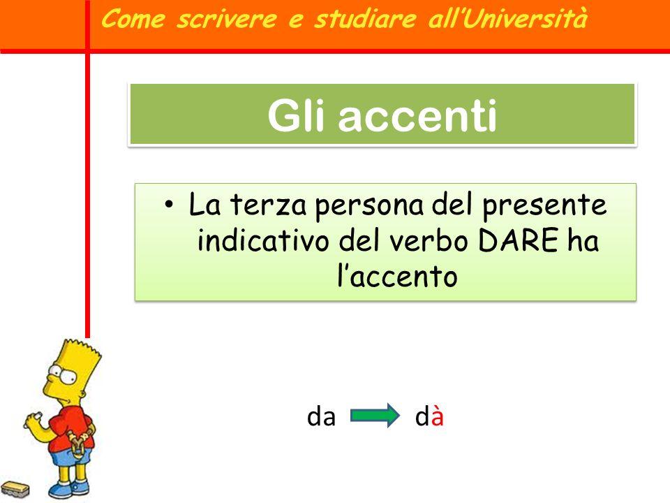La terza persona del presente indicativo del verbo DARE ha laccento Come scrivere e studiare allUniversità Gli accenti dadàdà