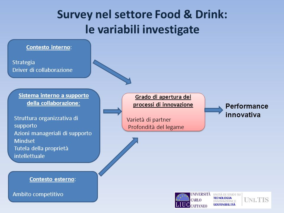 Survey nel settore Food & Drink: le variabili investigate Performance innovativa Contesto interno: Strategia Driver di collaborazione Sistema interno