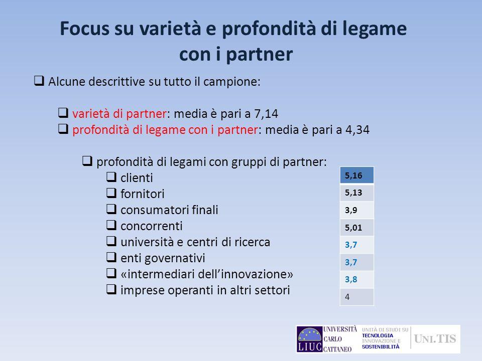 Focus su varietà e profondità di legame con i partner Alcune descrittive su tutto il campione: varietà di partner: media è pari a 7,14 profondità di l