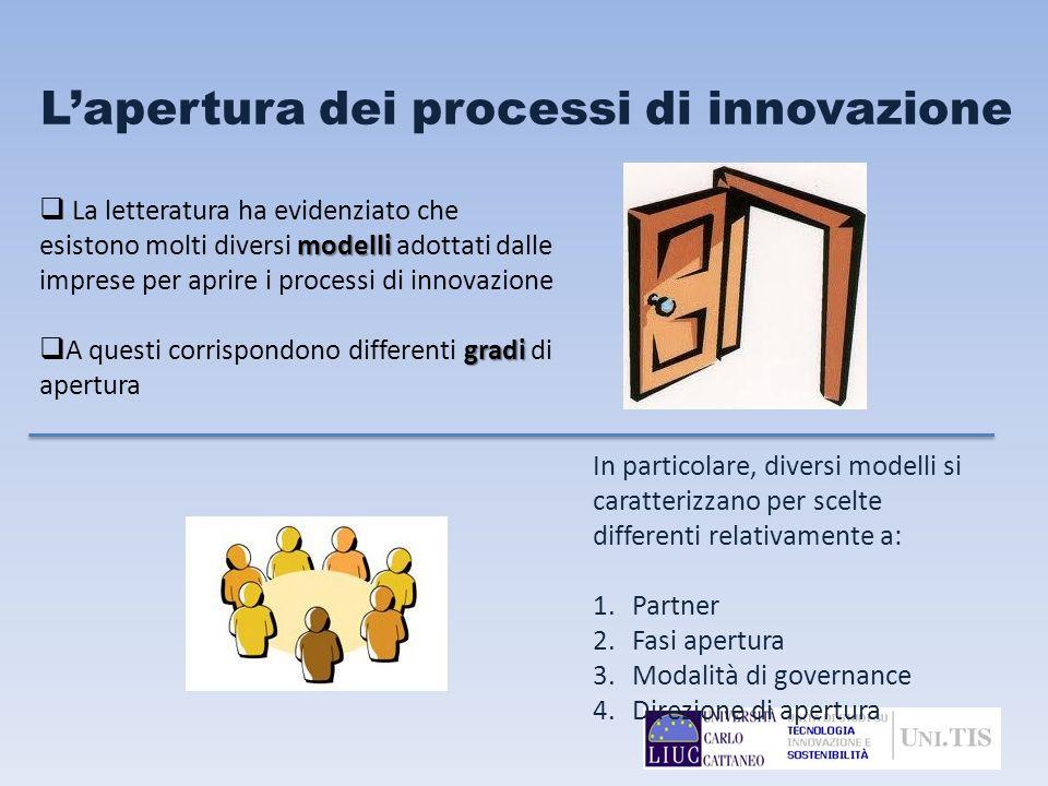 Lapertura dei processi di innovazione In particolare, diversi modelli si caratterizzano per scelte differenti relativamente a: 1.Partner 2.Fasi apertu
