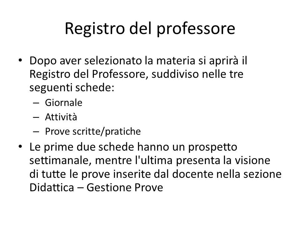 Registro del professore Dopo aver selezionato la materia si aprirà il Registro del Professore, suddiviso nelle tre seguenti schede: – Giornale – Attiv