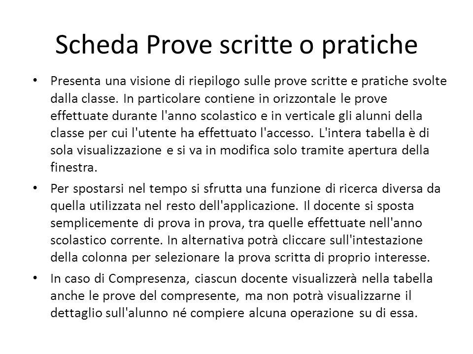 Scheda Prove scritte o pratiche Presenta una visione di riepilogo sulle prove scritte e pratiche svolte dalla classe. In particolare contiene in orizz