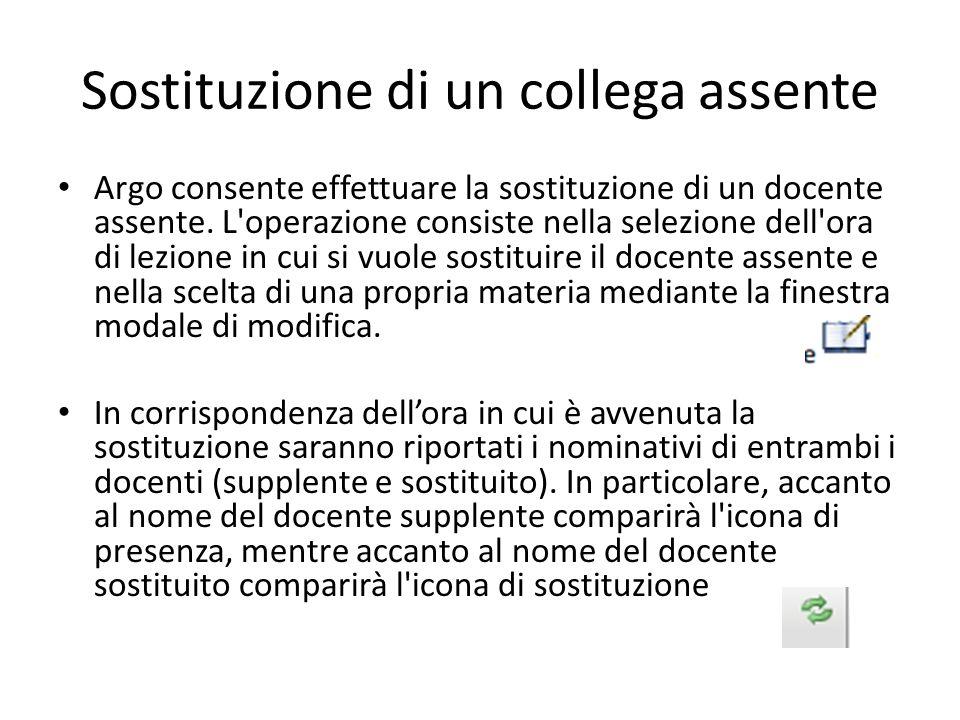 Sostituzione di un collega assente Argo consente effettuare la sostituzione di un docente assente. L'operazione consiste nella selezione dell'ora di l
