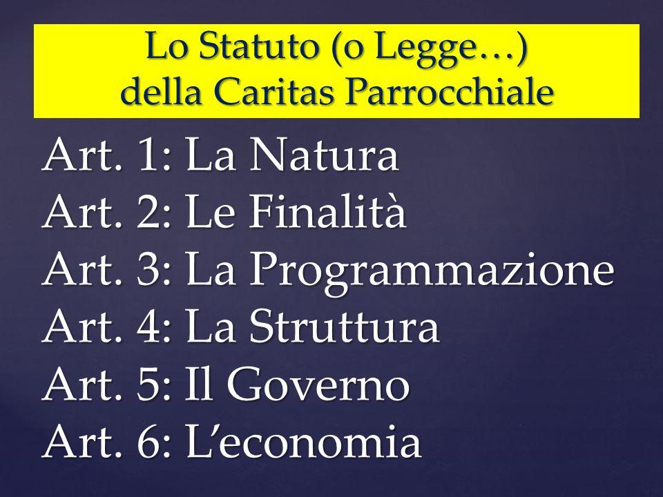 Lo Statuto (o Legge…) della Caritas Parrocchiale Art. 1: La Natura Art. 2: Le Finalità Art. 3: La Programmazione Art. 4: La Struttura Art. 5: Il Gover