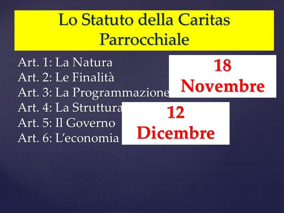 Lo Statuto della Caritas Parrocchiale Art. 1: La Natura Art. 2: Le Finalità Art. 3: La Programmazione Art. 4: La Struttura Art. 5: Il Governo Art. 6: