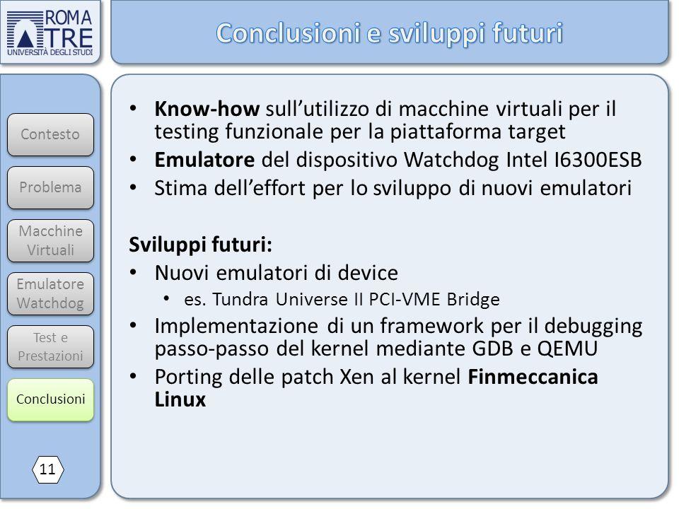 Contesto Macchine Virtuali Macchine Virtuali Emulatore Watchdog Emulatore Watchdog Test e Prestazioni Know-how sullutilizzo di macchine virtuali per i