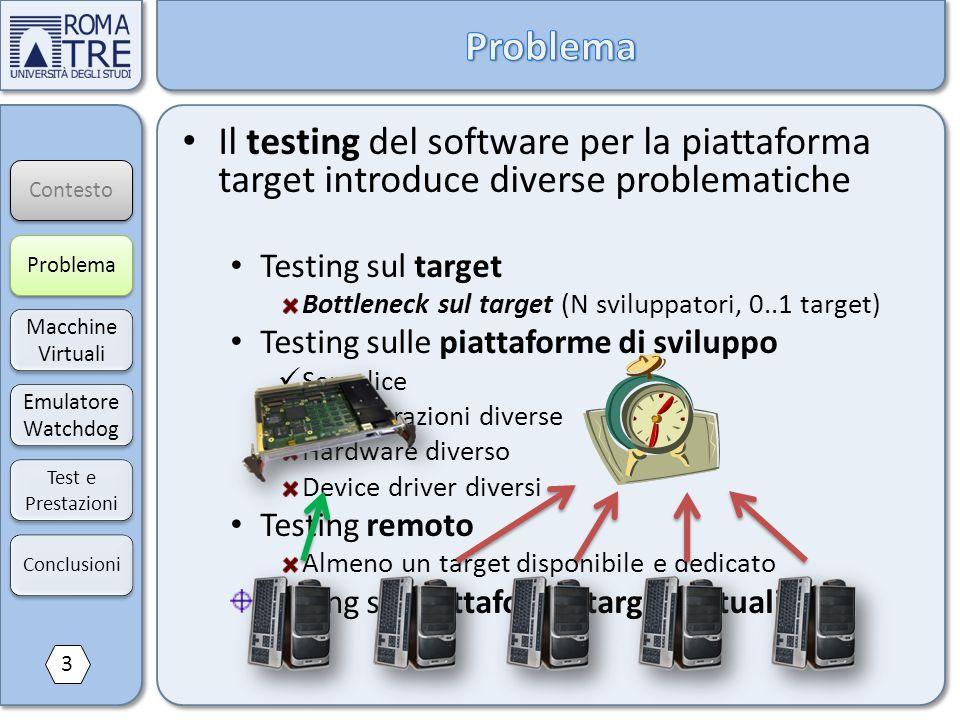 Contesto Macchine Virtuali Macchine Virtuali Emulatore Watchdog Emulatore Watchdog Test e Prestazioni Il testing del software per la piattaforma targe