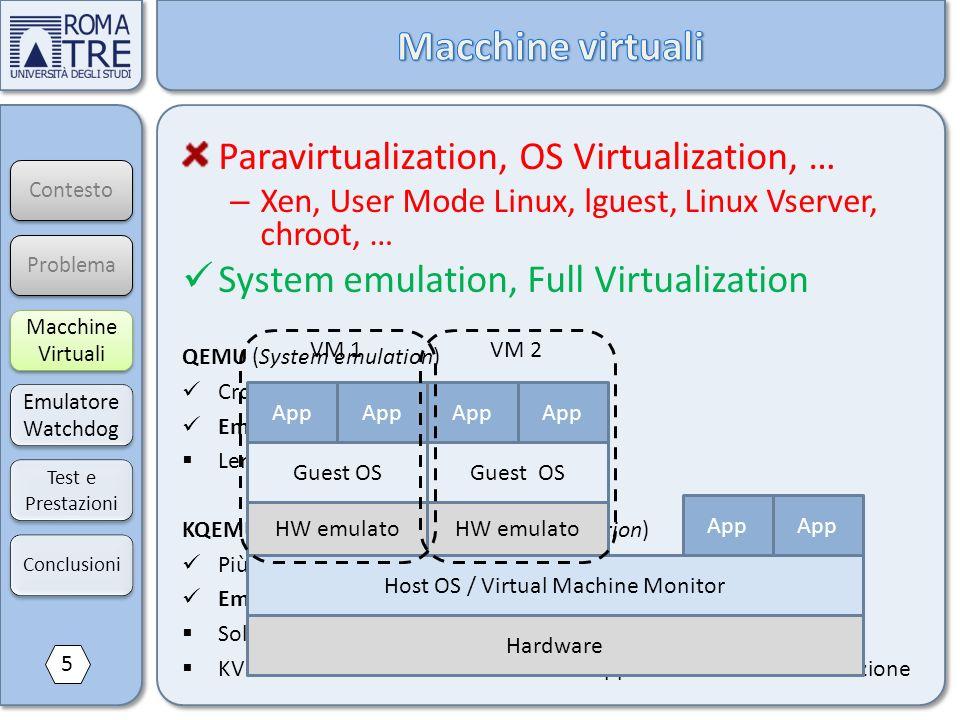 QEMU (System emulation) Cross platform (es. ARM su x86) Emulazione dispositivi hardware Lento KQEMU, KVM, Xen HVM (x86 full virtualization) Più veloci