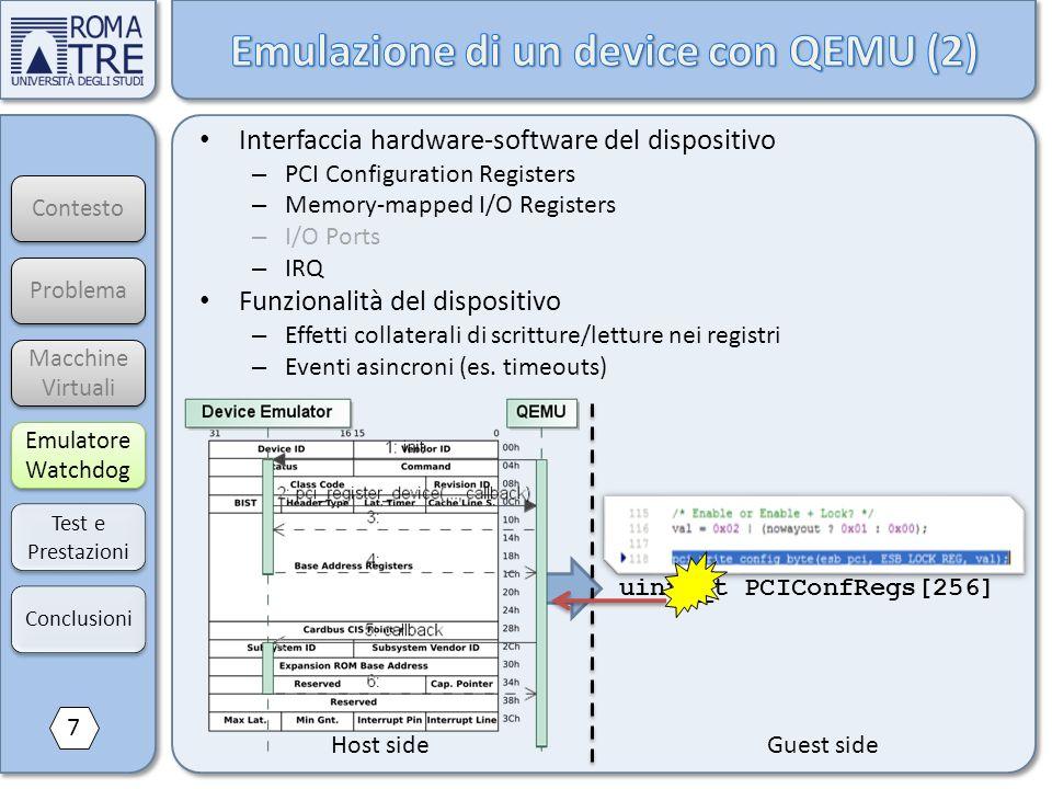 Contesto Macchine Virtuali Macchine Virtuali Emulatore Watchdog Emulatore Watchdog Test e Prestazioni Problema uint8_t PCIConfRegs[256] Interfaccia ha