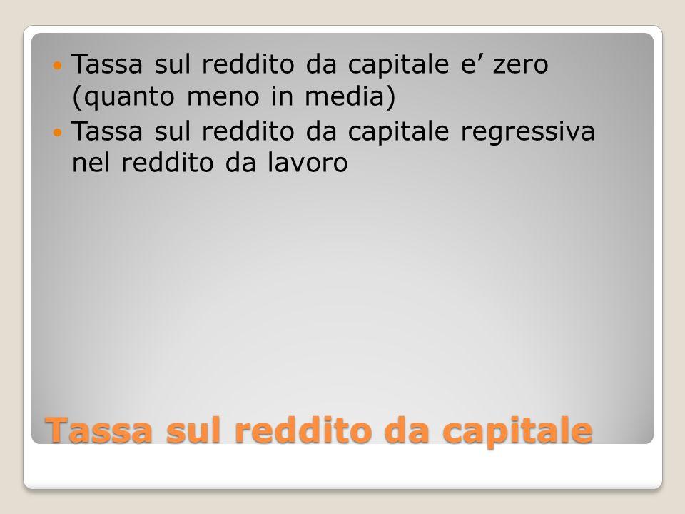 Tassa sul reddito da capitale Tassa sul reddito da capitale e zero (quanto meno in media) Tassa sul reddito da capitale regressiva nel reddito da lavo