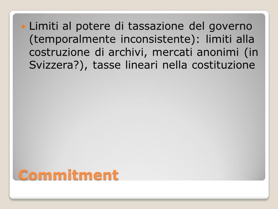 Commitment Limiti al potere di tassazione del governo (temporalmente inconsistente): limiti alla costruzione di archivi, mercati anonimi (in Svizzera?