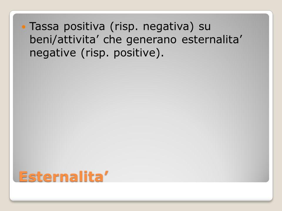Esternalita Tassa positiva (risp. negativa) su beni/attivita che generano esternalita negative (risp. positive).