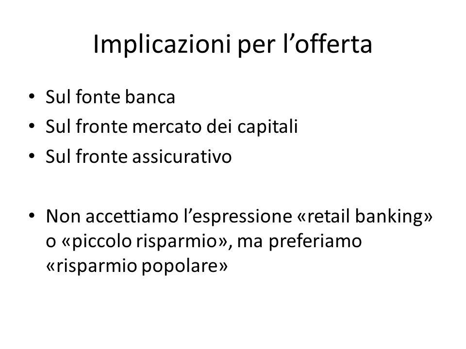 Implicazioni per lofferta Sul fonte banca Sul fronte mercato dei capitali Sul fronte assicurativo Non accettiamo lespressione «retail banking» o «picc
