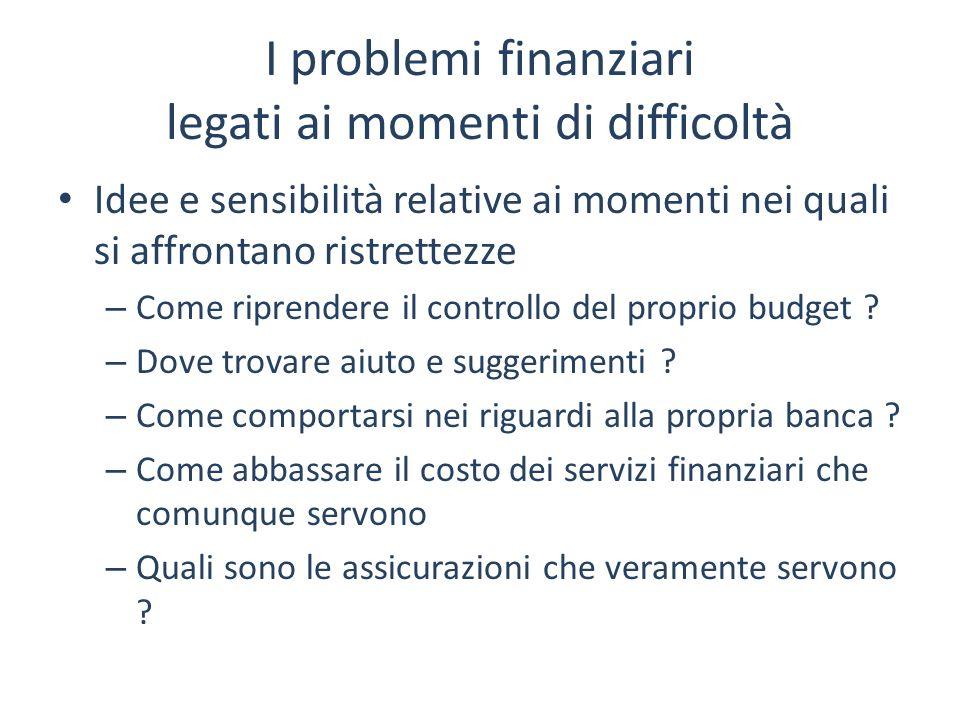 I problemi finanziari legati ai momenti di difficoltà Idee e sensibilità relative ai momenti nei quali si affrontano ristrettezze – Come riprendere il
