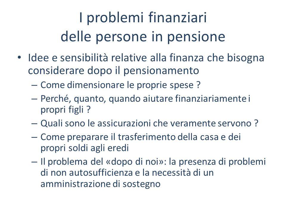 I problemi finanziari delle persone in pensione Idee e sensibilità relative alla finanza che bisogna considerare dopo il pensionamento – Come dimensio