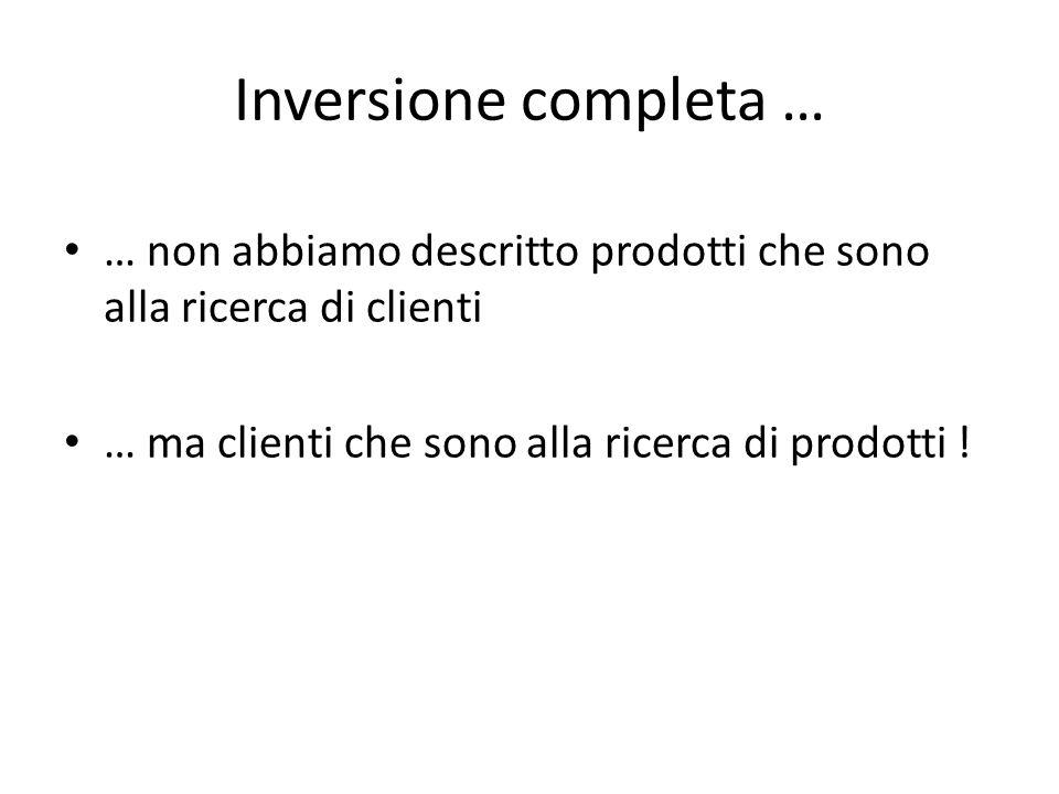 Inversione completa … … non abbiamo descritto prodotti che sono alla ricerca di clienti … ma clienti che sono alla ricerca di prodotti !