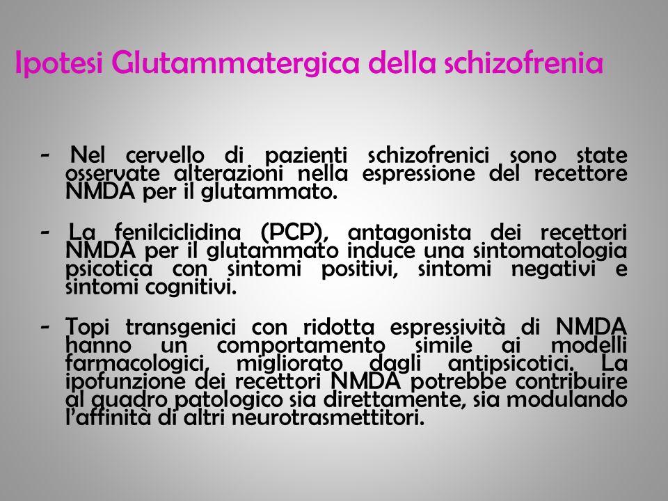 Ipotesi Glutammatergica della schizofrenia - Nel cervello di pazienti schizofrenici sono state osservate alterazioni nella espressione del recettore N