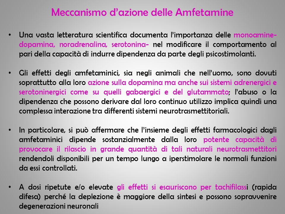Meccanismo dazione delle Amfetamine Una vasta letteratura scientifica documenta limportanza delle monoamine- dopamina, noradrenalina, serotonina- nel