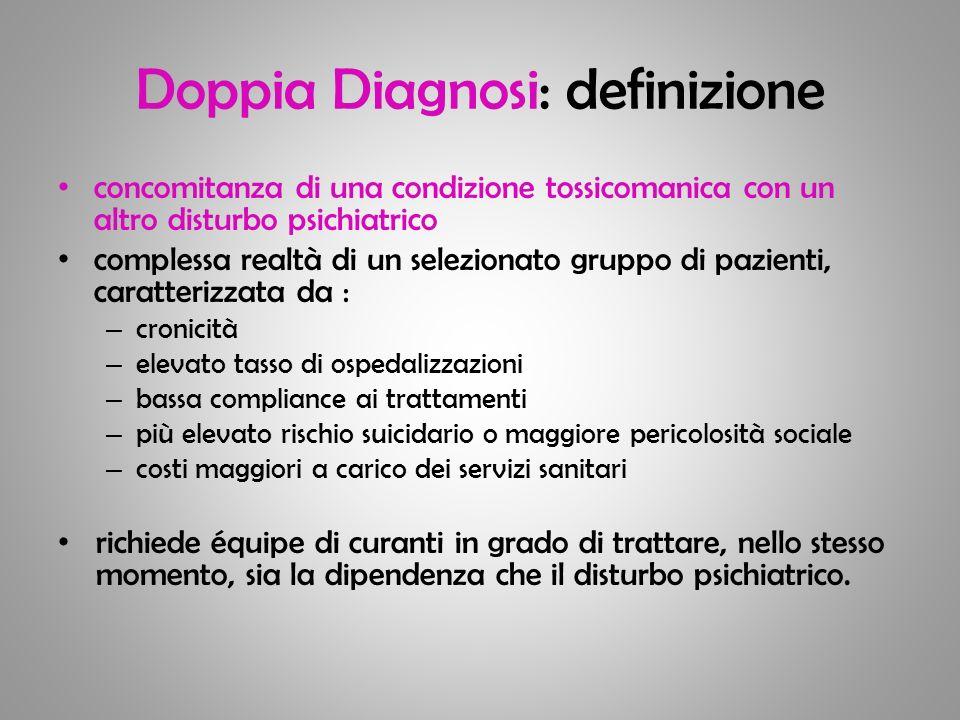 Doppia Diagnosi: definizione concomitanza di una condizione tossicomanica con un altro disturbo psichiatrico complessa realtà di un selezionato gruppo