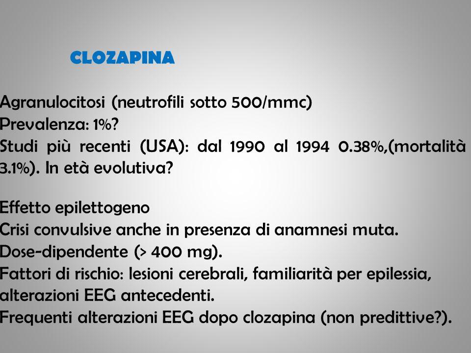CLOZAPINA Agranulocitosi (neutrofili sotto 500/mmc) Prevalenza: 1%? Studi più recenti (USA): dal 1990 al 1994 0.38%,(mortalità 3.1%). In età evolutiva