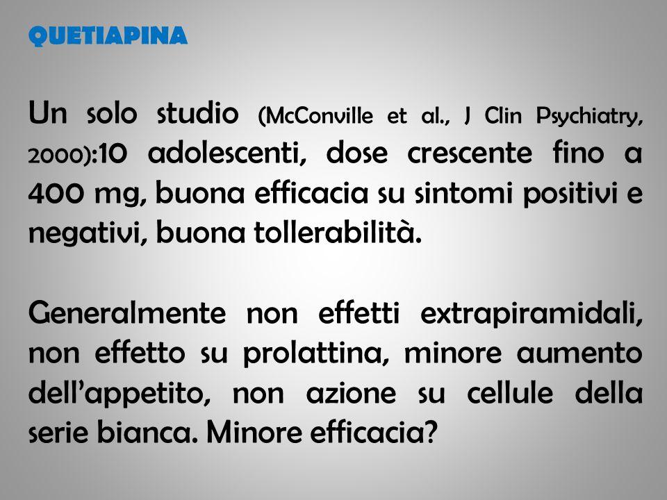 QUETIAPINA Un solo studio (McConville et al., J Clin Psychiatry, 2000) :10 adolescenti, dose crescente fino a 400 mg, buona efficacia su sintomi posit