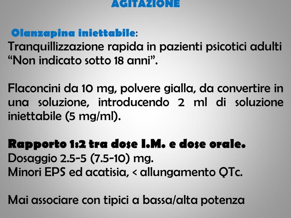 AGITAZIONE Olanzapina iniettabile : Tranquillizzazione rapida in pazienti psicotici adulti Non indicato sotto 18 anni. Flaconcini da 10 mg, polvere gi