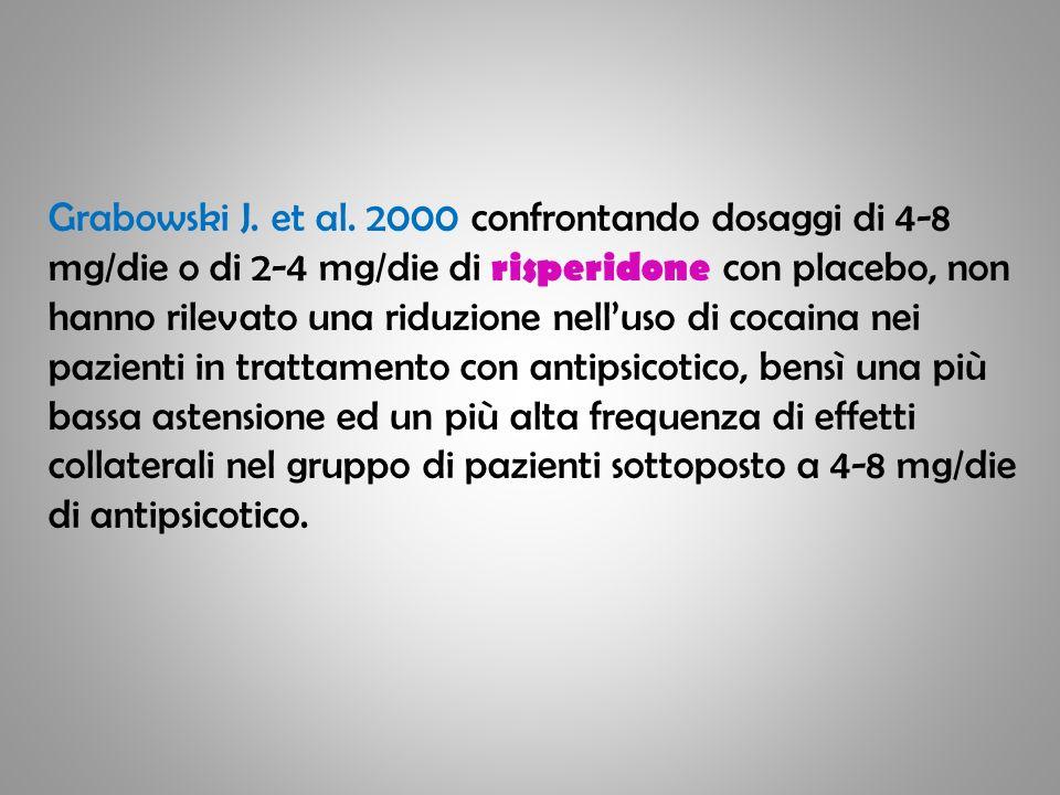 Grabowski J. et al. 2000 confrontando dosaggi di 4-8 mg/die o di 2-4 mg/die di risperidone con placebo, non hanno rilevato una riduzione nelluso di co