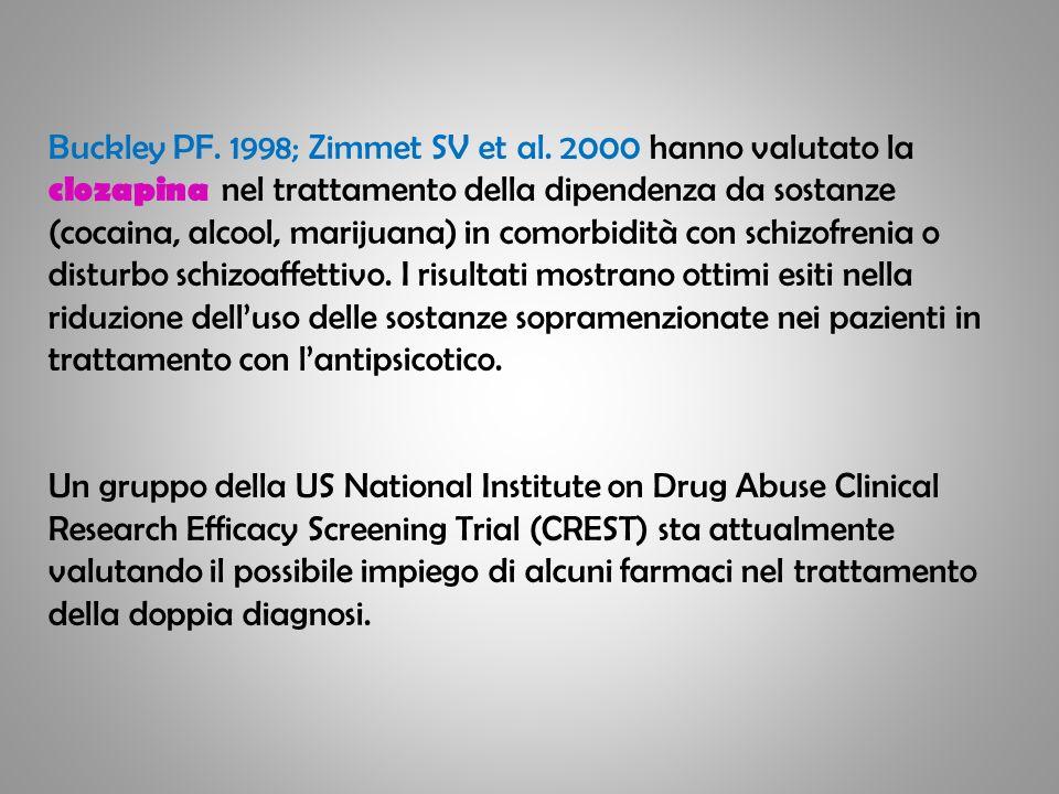 Buckley PF. 1998; Zimmet SV et al. 2000 hanno valutato la clozapina nel trattamento della dipendenza da sostanze (cocaina, alcool, marijuana) in comor