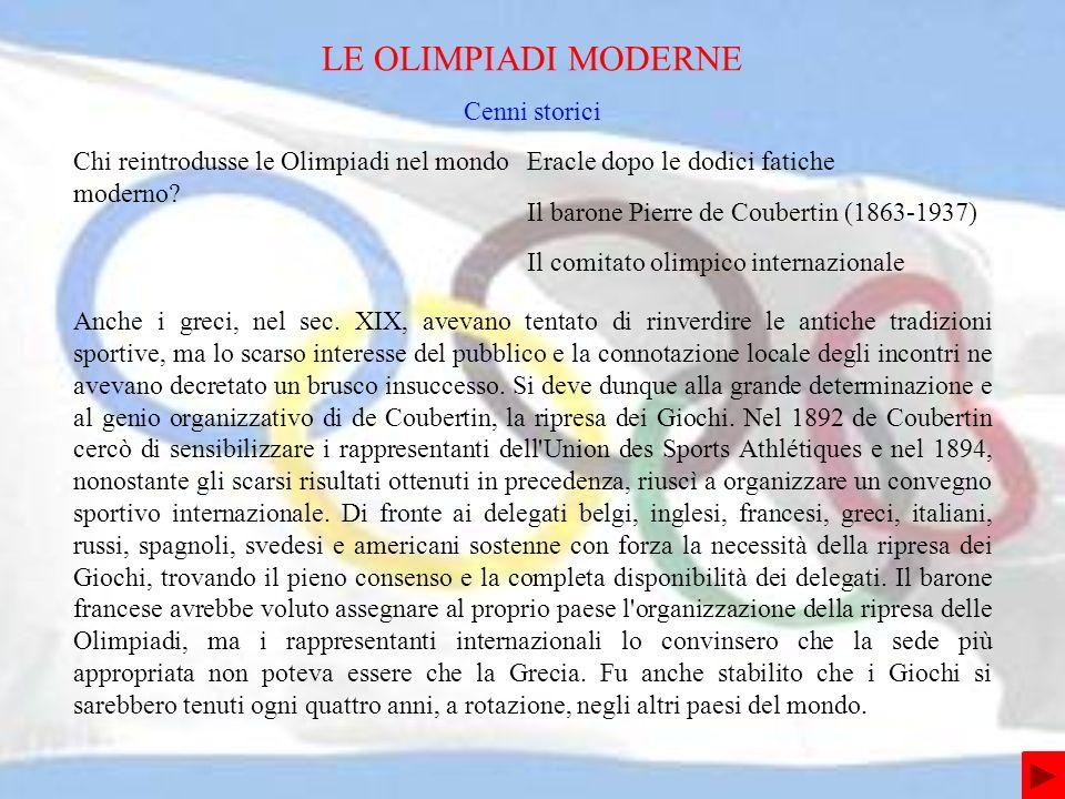 Chi reintrodusse le Olimpiadi nel mondo moderno.