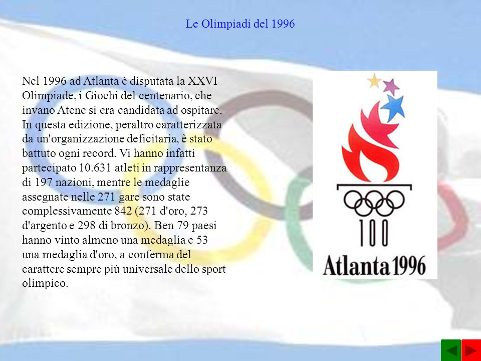 Le Olimpiadi del 1996 Nel 1996 ad Atlanta è disputata la XXVI Olimpiade, i Giochi del centenario, che invano Atene si era candidata ad ospitare.