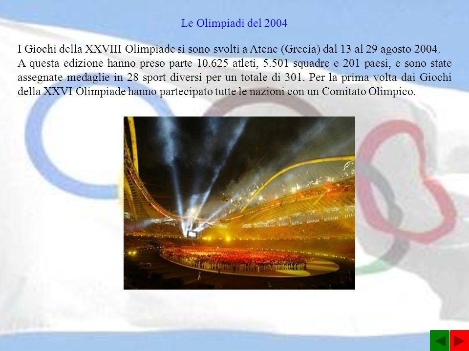 Le Olimpiadi del 2004 I Giochi della XXVIII Olimpiade si sono svolti a Atene (Grecia) dal 13 al 29 agosto 2004.