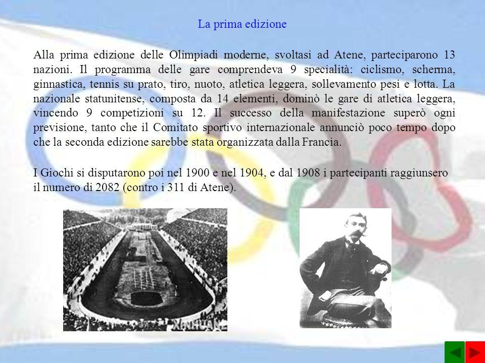 Alla prima edizione delle Olimpiadi moderne, svoltasi ad Atene, parteciparono 13 nazioni.