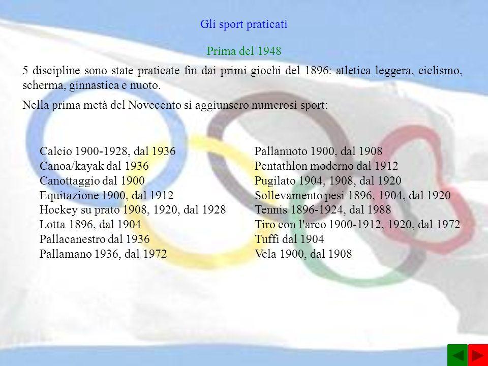 Gli sport praticati 5 discipline sono state praticate fin dai primi giochi del 1896: atletica leggera, ciclismo, scherma, ginnastica e nuoto.