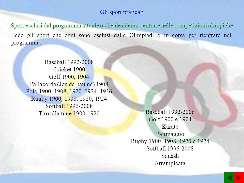 Sport esclusi dal programma attuale o che desiderano entrare nelle competizioni olimpiche Ecco gli sport che oggi sono esclusi dalle Olimpiadi o in corsa per rientrare nel programma: Gli sport praticati Baseball 1992-2008 Cricket 1900 Golf 1900, 1904 Pallacorda (Jeu de paume) 1908 Polo 1900, 1908, 1920, 1924, 1936 Rugby 1900, 1908, 1920, 1924 Softball 1996-2008 Tiro alla fune 1900-1920 Baseball 1992-2008 Golf 1900 e 1904 Karate Pattinaggio Rugby 1900, 1908, 1920 e 1924 Softball 1996-2008 Squash Arrampicata