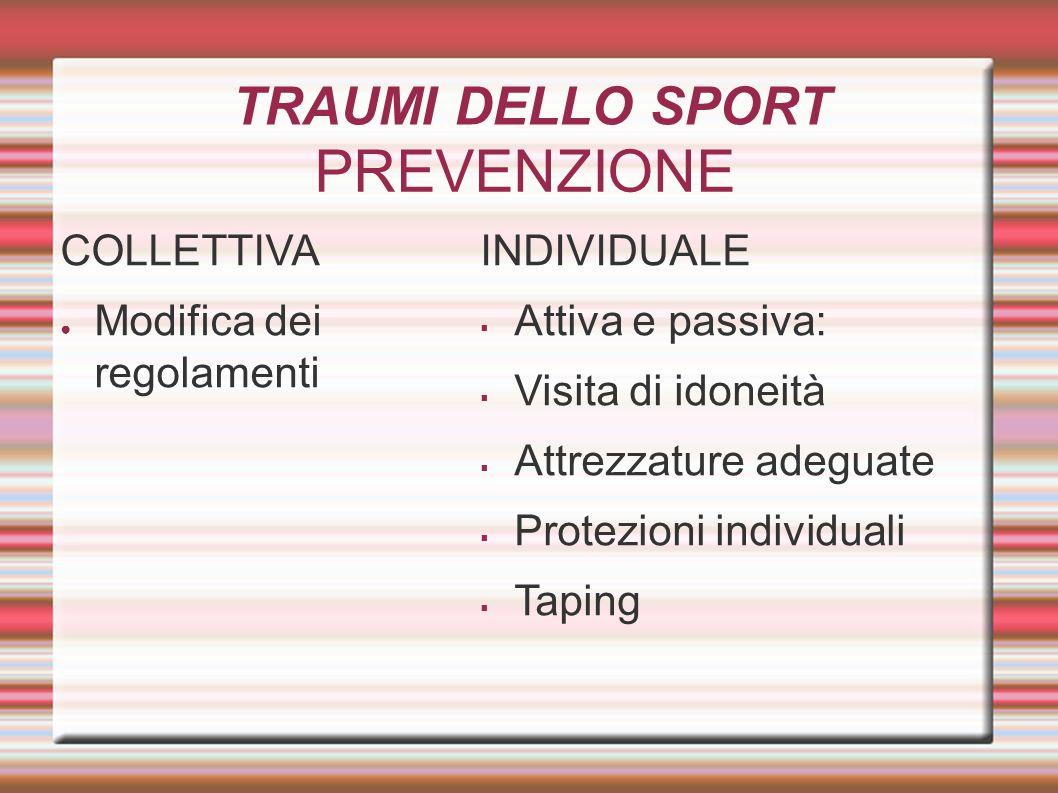 PREVENZIONE COLLETTIVA Modifica dei regolamenti INDIVIDUALE Attiva e passiva: Visita di idoneità Attrezzature adeguate Protezioni individuali Taping T