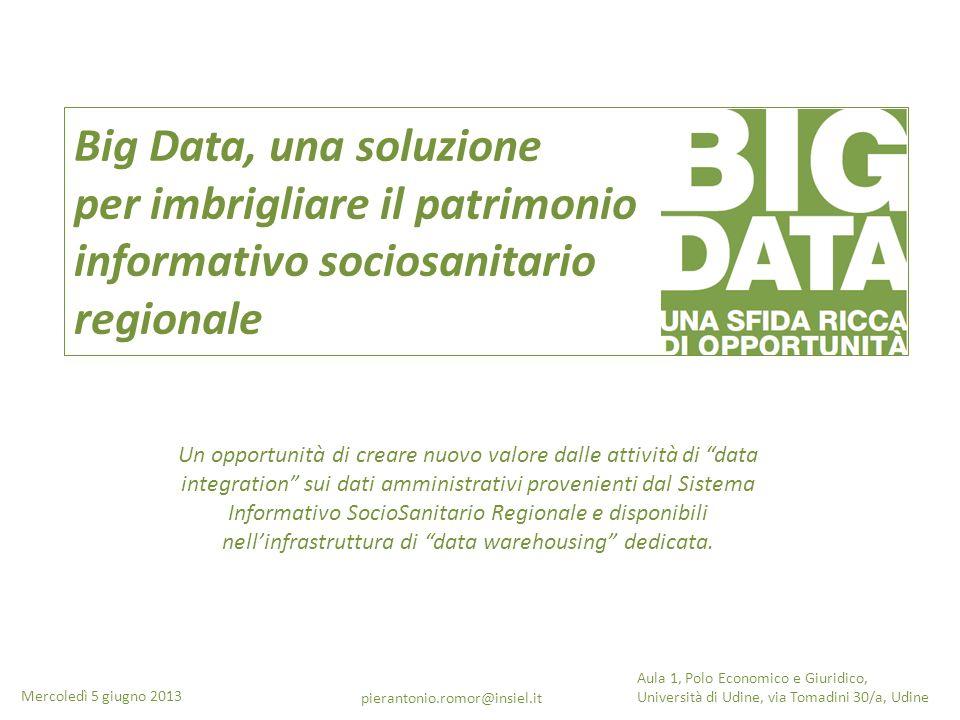 Big Data, una soluzione per imbrigliare il patrimonio informativo sociosanitario regionale Un opportunità di creare nuovo valore dalle attività di dat