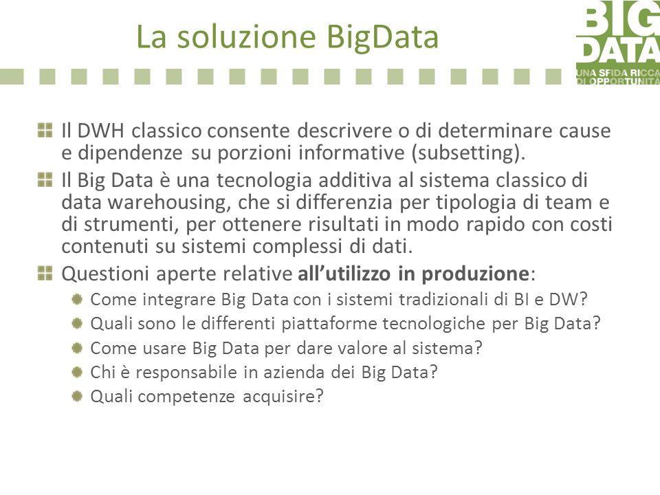 La soluzione BigData Il DWH classico consente descrivere o di determinare cause e dipendenze su porzioni informative (subsetting). Il Big Data è una t