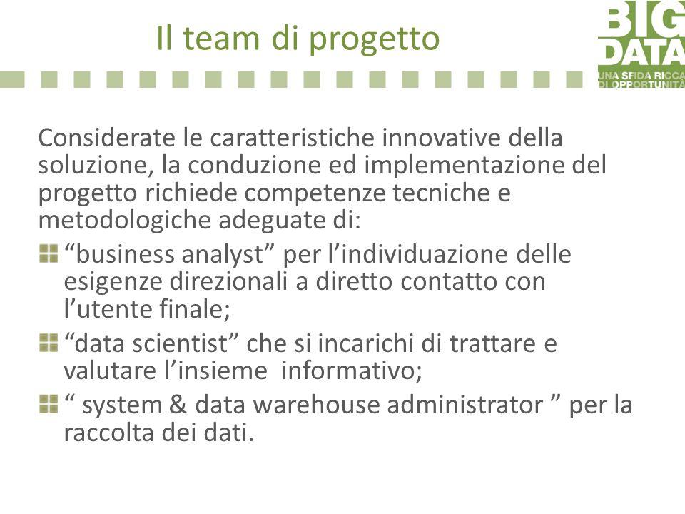 Il team di progetto Considerate le caratteristiche innovative della soluzione, la conduzione ed implementazione del progetto richiede competenze tecni
