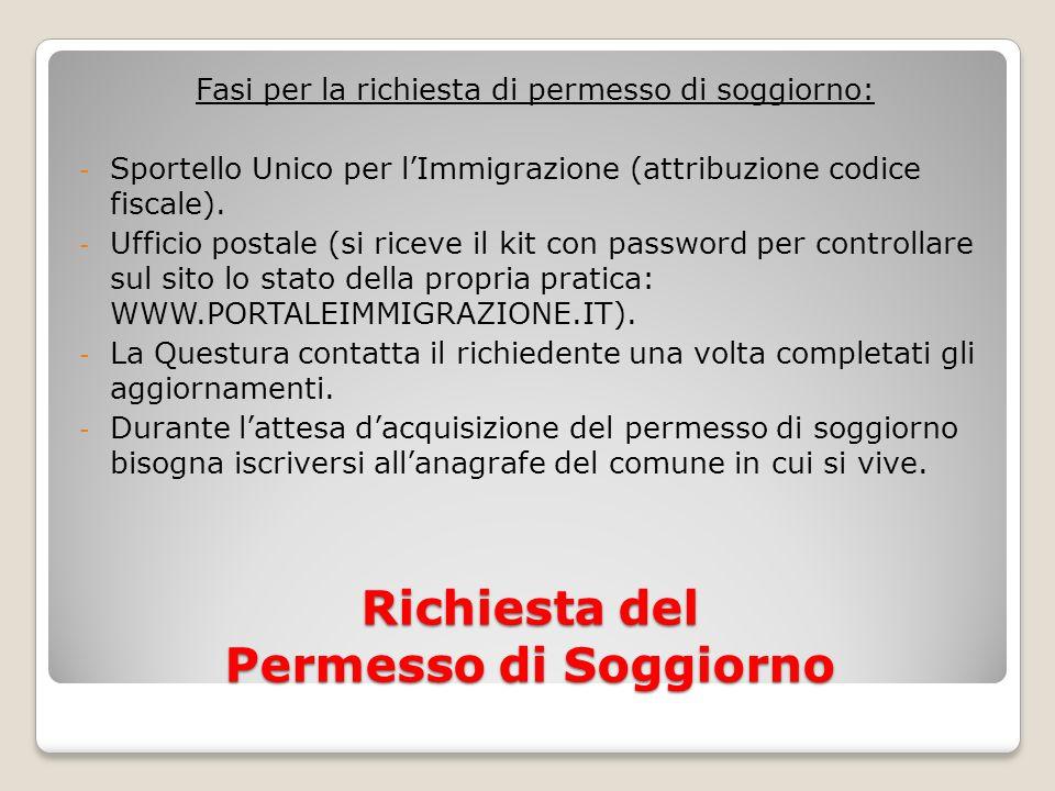 Richiesta del Permesso di Soggiorno Fasi per la richiesta di permesso di soggiorno: - Sportello Unico per lImmigrazione (attribuzione codice fiscale).