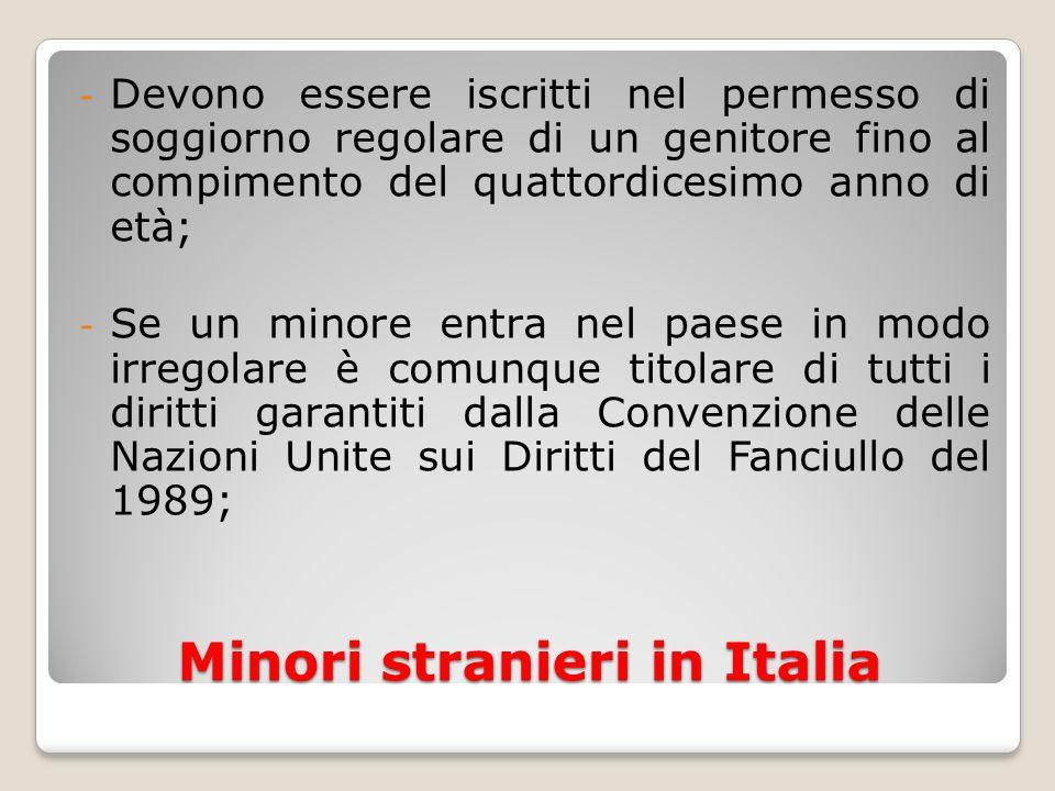 Minori stranieri in Italia - Devono essere iscritti nel permesso di soggiorno regolare di un genitore fino al compimento del quattordicesimo anno di e